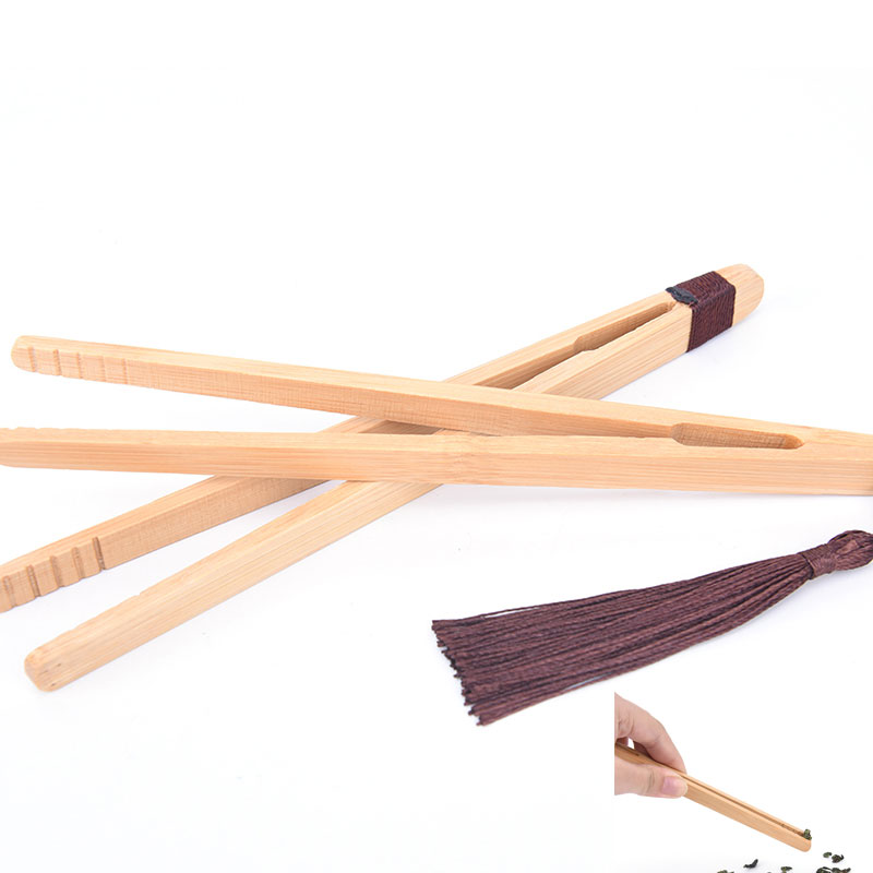 1Pc Wooden Tea Tweezer Bacon Tea Clip Tongs Bamboo Kitchen Salad Food Toast