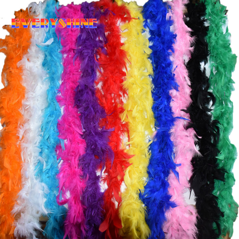 Length 2 Meter Turkey Feather Boas Lady Scarf For Clothing