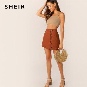 Image 5 - SHEIN ボタンフロントスカート韓国スタイルブラウンハイウエスト A ラインスカート 2019 春夏の女性のミニスカート