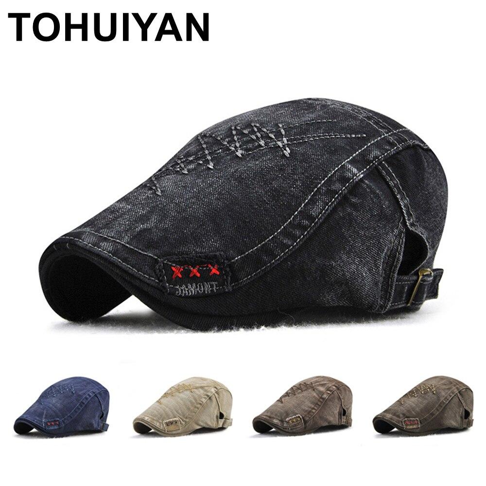 TOHUIYAN Newsboy Caps For Men Vintage Cotton Driver Cap Boina Duckbill Hats Baker Boy Caps Classic Beret Hats Male Flat Cap