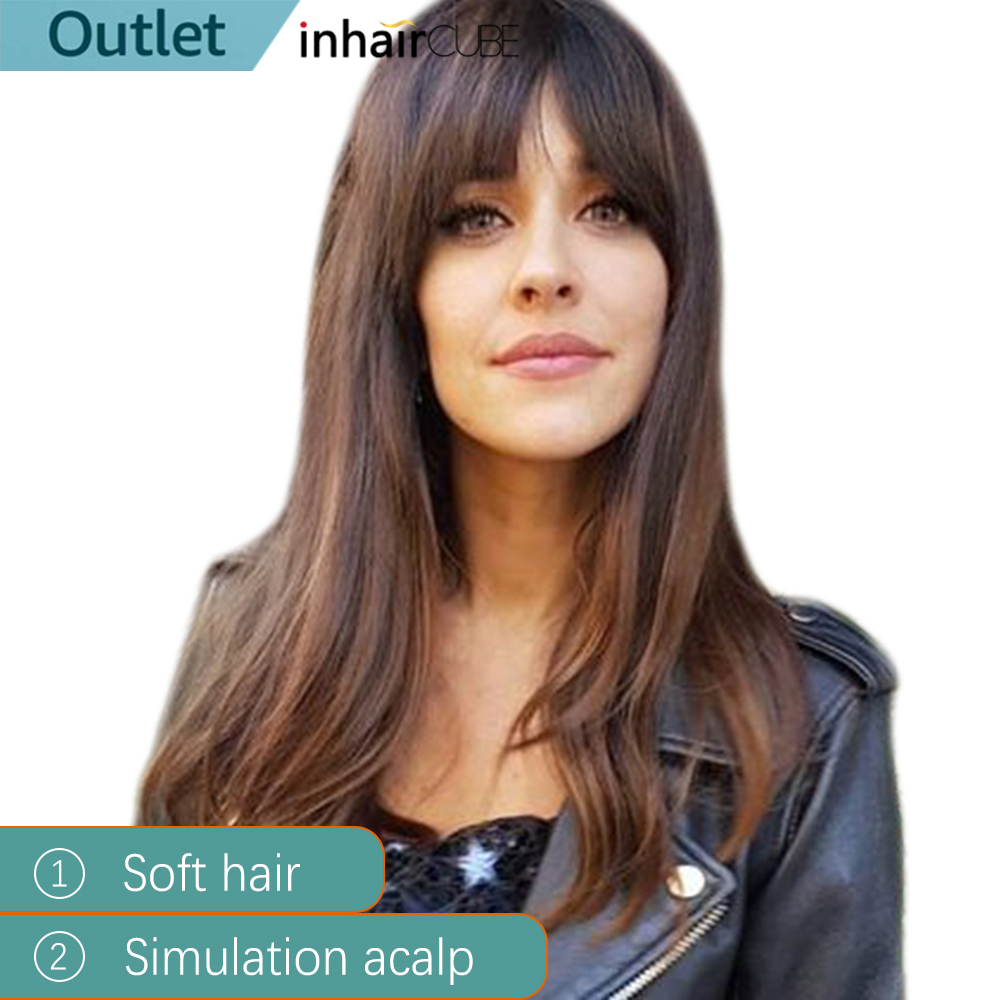 """INHAIR CUBE 20"""" Long Straight Hair Synthetic Wigs Dark Roots Ombre With Bangs Realistic Simulation Scalp Side Part"""