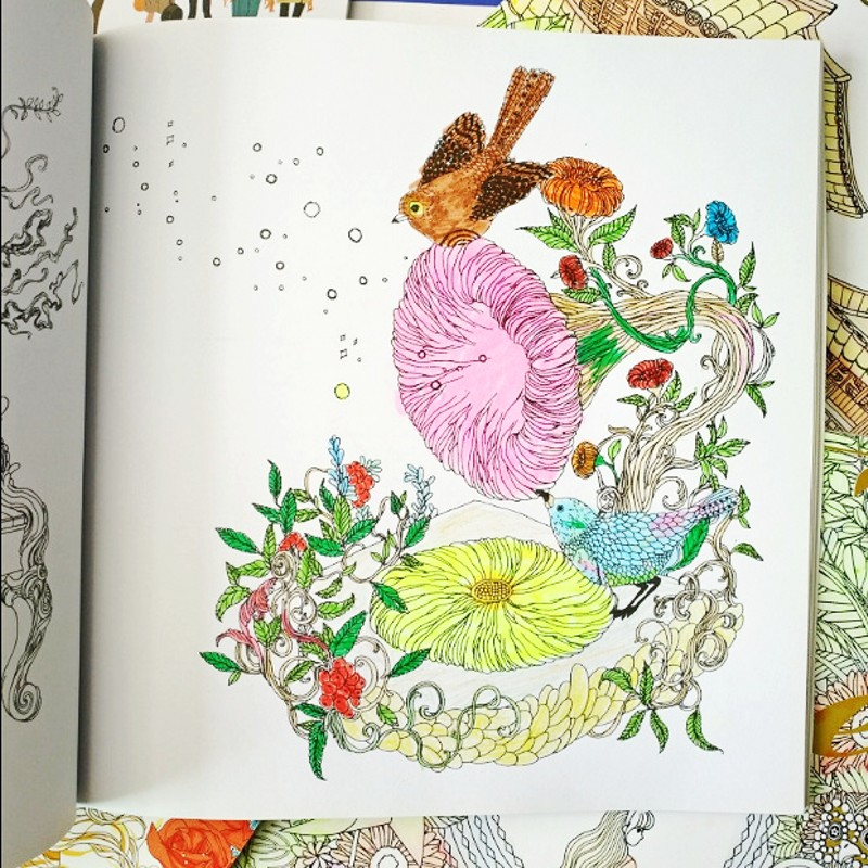 Secret Garden Style KOREA Dream Coloring Book For Children Adult Relieve Stress Kill Time Painting Drawing Colouring In Books From Office School