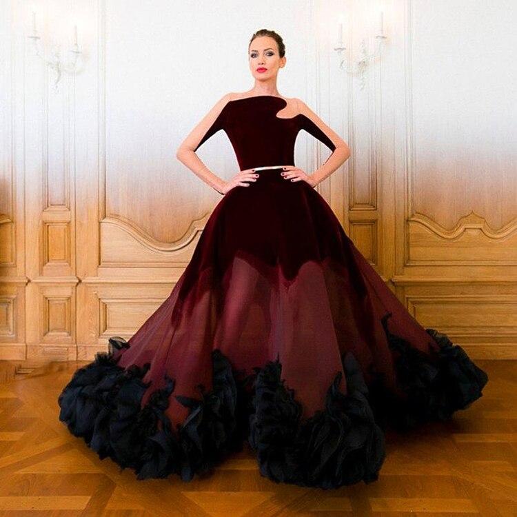 2015 Stunning Vestido De Festa Burgundy Velvet Sheer See