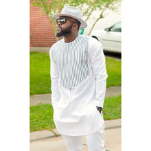 African Dashiki Man Long Sleeves T Shirt O Neck White Striped African Tops for Man Long Shirt Traditional Nigerian Men Clothes цена