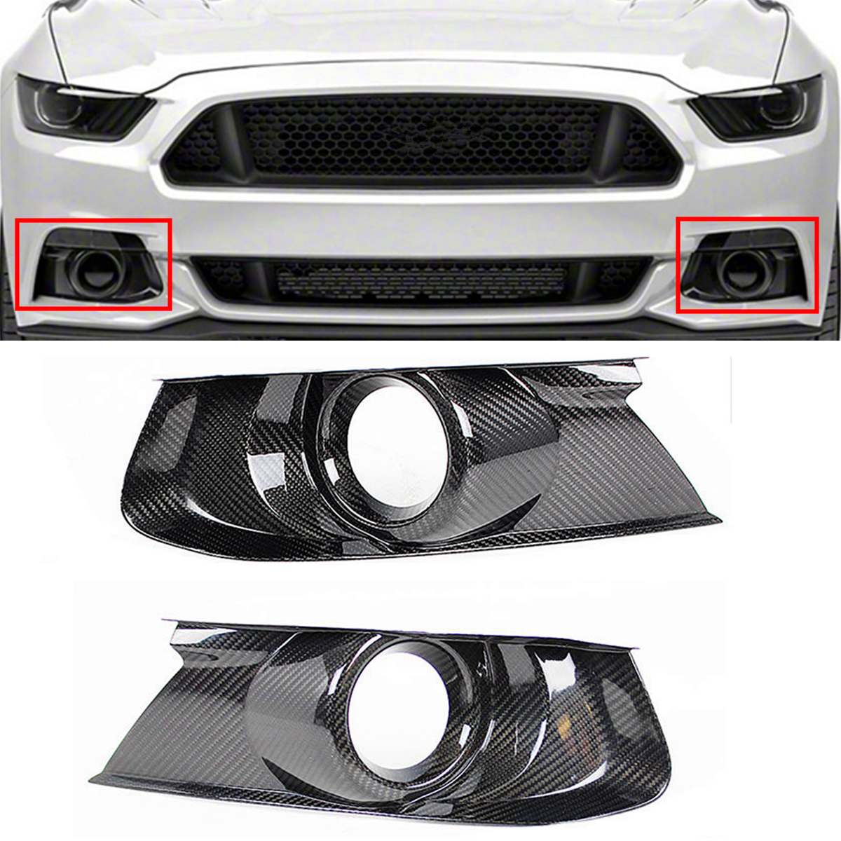 High quality 1Pair Carbon Fiber Front Bumper Fog Light Bezel Cover Trim Mesh Grille For Mustang GT 2015-2017 New Fog Light Cover ownsun innovative super cob fog light angel eye bumper cover for skoda fabia scout