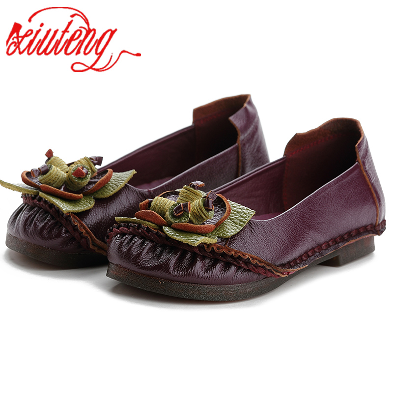 Xiuteng Soft Bottom Comfortable Hand Made Women Genuine Leather Flat Shoes Casual Work Cowhide Flexible Boat Shoes Women FlatsXiuteng Soft Bottom Comfortable Hand Made Women Genuine Leather Flat Shoes Casual Work Cowhide Flexible Boat Shoes Women Flats