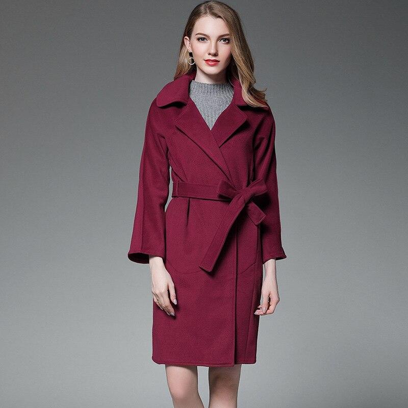 Lâche Manteau Velours Wine Plus Laine Vêtements Red De Ceinture Taille Fy021 D'hiver Le Réglable Veste Femme Mélanges Femmes Cachemire Longue cnHaqH7f