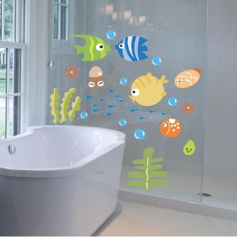 1 set stickers muraux pour enfants chambres poissons de bande dessine motif autocollant pour salle de - Stickers Tuile Vinyle Salle De Bain