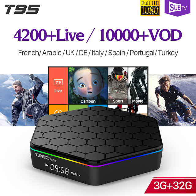 IPTV France T95Z plus S912 3GB 32GB Android 7.1 Smart TV Box 1 Year SUBTV IPTV Spain Belgium Albania Arabic France IPTV Box