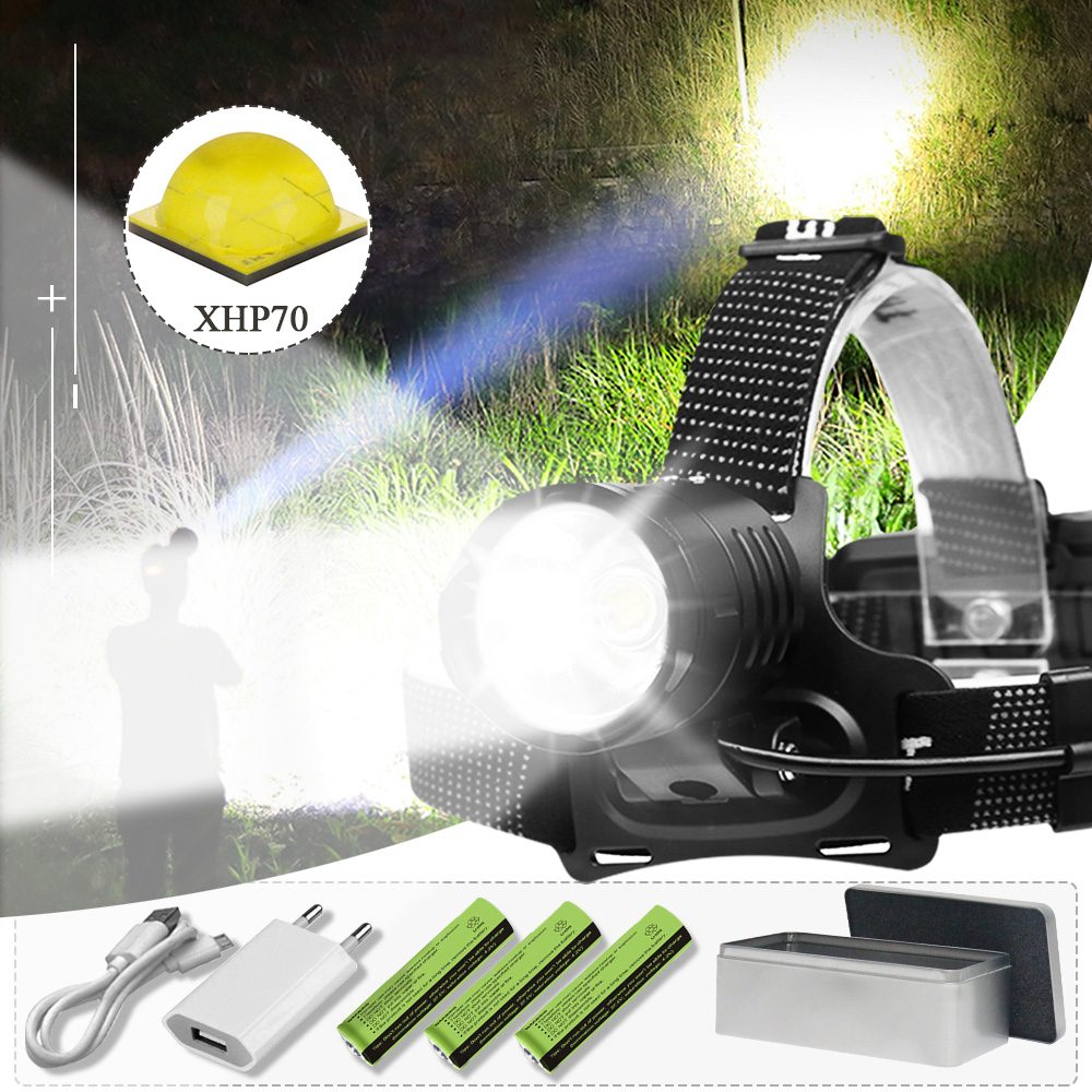 8000LM Most Headlamp Xhp70 /xhp50.2 High Power Led Head Torch USB Headlight 18650 Outdoor Waterproof Light With Mobile Power