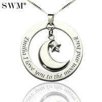 Women's Chain Sterling Silver 925 Custom Necklace With Pentagram Star Moon Collier Pendant Jewelery to Best Friends Mom jewelry