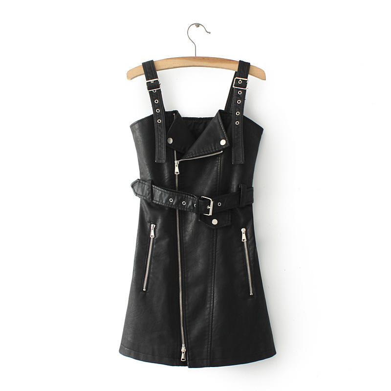 Fitaylor New Autumn Leather Overall Dress Women Soft PU Faux Leather Dresses Sexy Turn-down Collar Slim Retro Black Short Dress 10