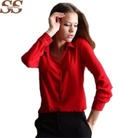 Blusas Femininas 2015 Women Shirt Chiffon Tops Elegant Ladies Formal Office Blouse 5 Colors Work Wear