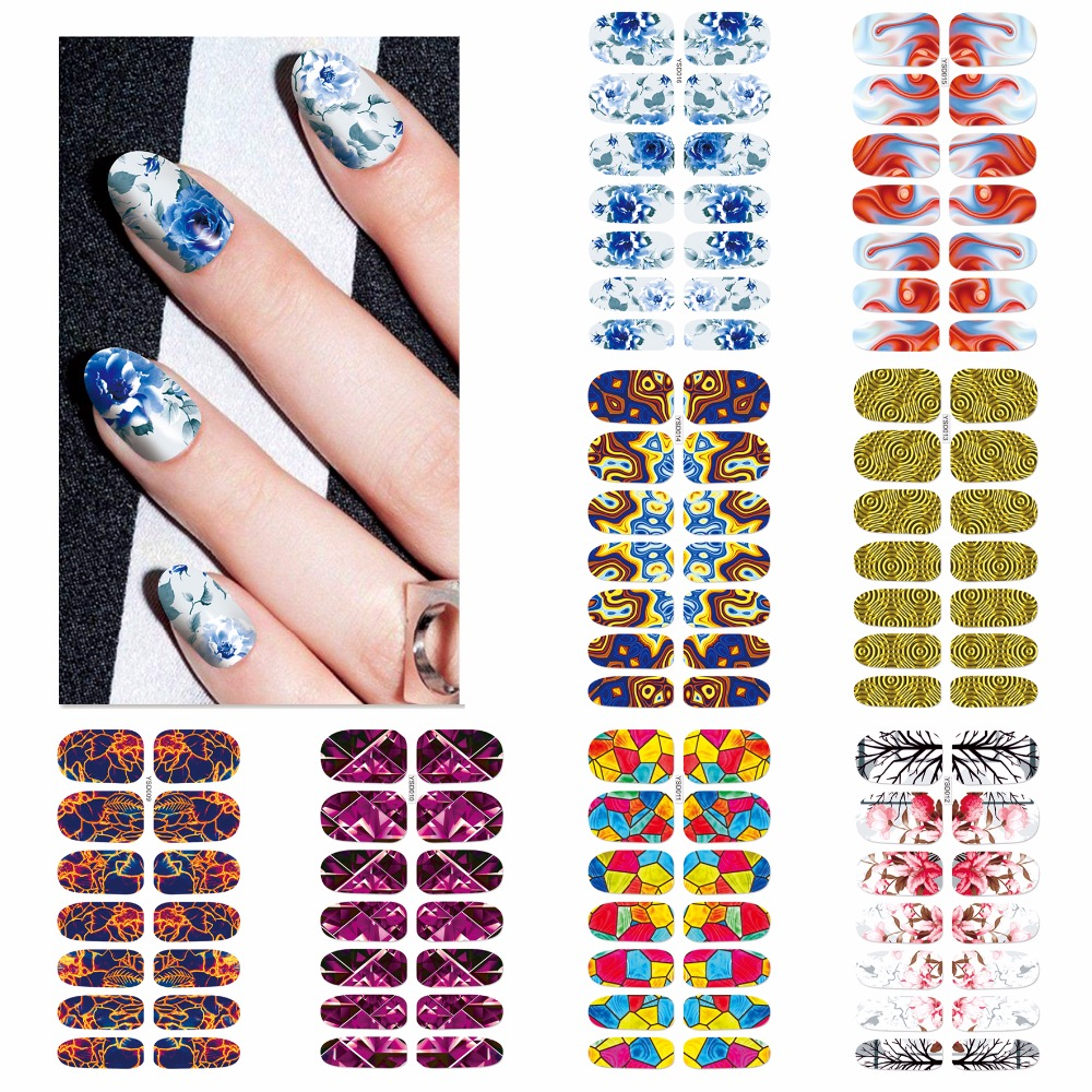 FWC Colorful Nail Art Water Transfer Stickers Nail Tips Decals Beauty Full Cover Wraps Manicure 2016 cartoon design nail art manicure tips water transfer nail stickers paradise vacation desgins nails wraps collections decor