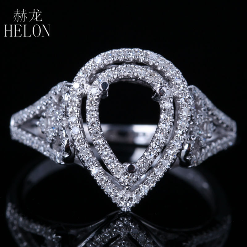 HELON 2/5ct Diamonds Two Halo Solid 14k Rose Gold 6x8mm Pear Cut Semi Mount Engagement Wedding Ring Women Trendy Fine JewelryHELON 2/5ct Diamonds Two Halo Solid 14k Rose Gold 6x8mm Pear Cut Semi Mount Engagement Wedding Ring Women Trendy Fine Jewelry