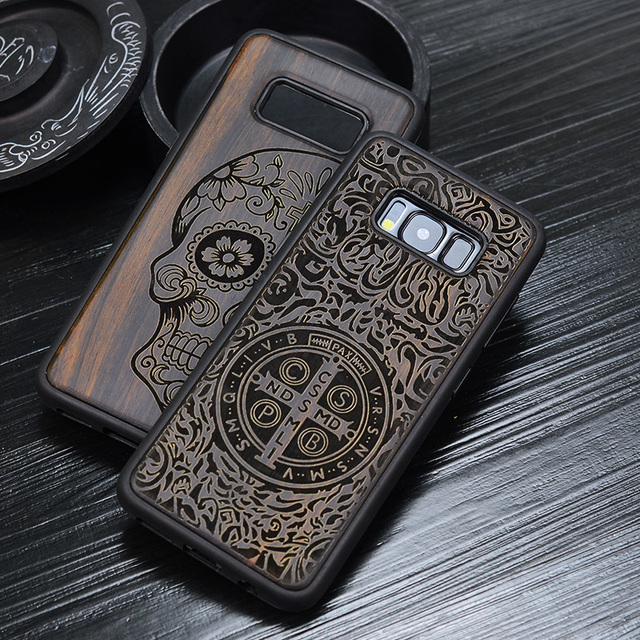 half off 2322c 7e424 US $8.39 16% OFF|Russian Popular Skull Black Ebony Wood Phone Case for  Samsung Galaxy S9 Flower Wooden Samsung Galaxy S9 S8 Plus S9+ Note 8  Cover-in ...