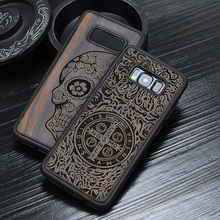 Russian Popular Skull Black Ebony Wood Phone Case for Samsung Galaxy S9 Flower Wooden Samsung Galaxy S9 S8 Plus S9+ Note 8 Cover
