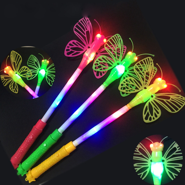 2pcs flashing butterfly children girls fairy magic wand for Butterfly wands wholesale