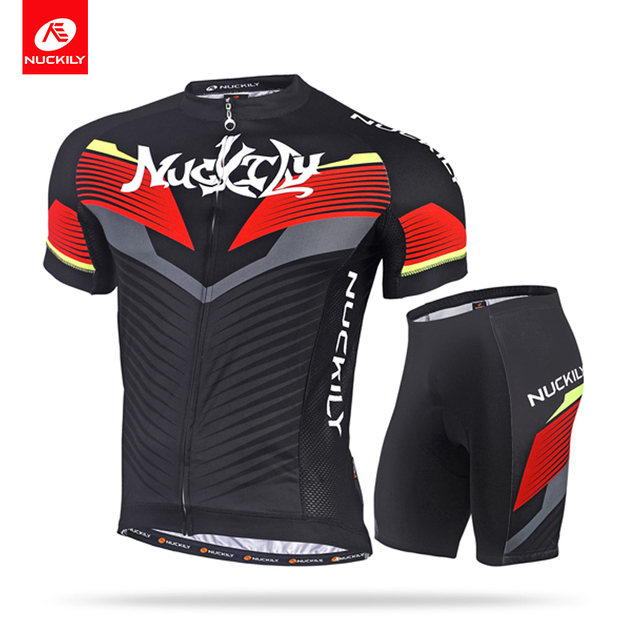 NUCKILY Summer Short Sleeve Bike Apparel Cycling Jersey and Padding Short  2pcs Set For Men MA021MB021 7cc7c0fdc
