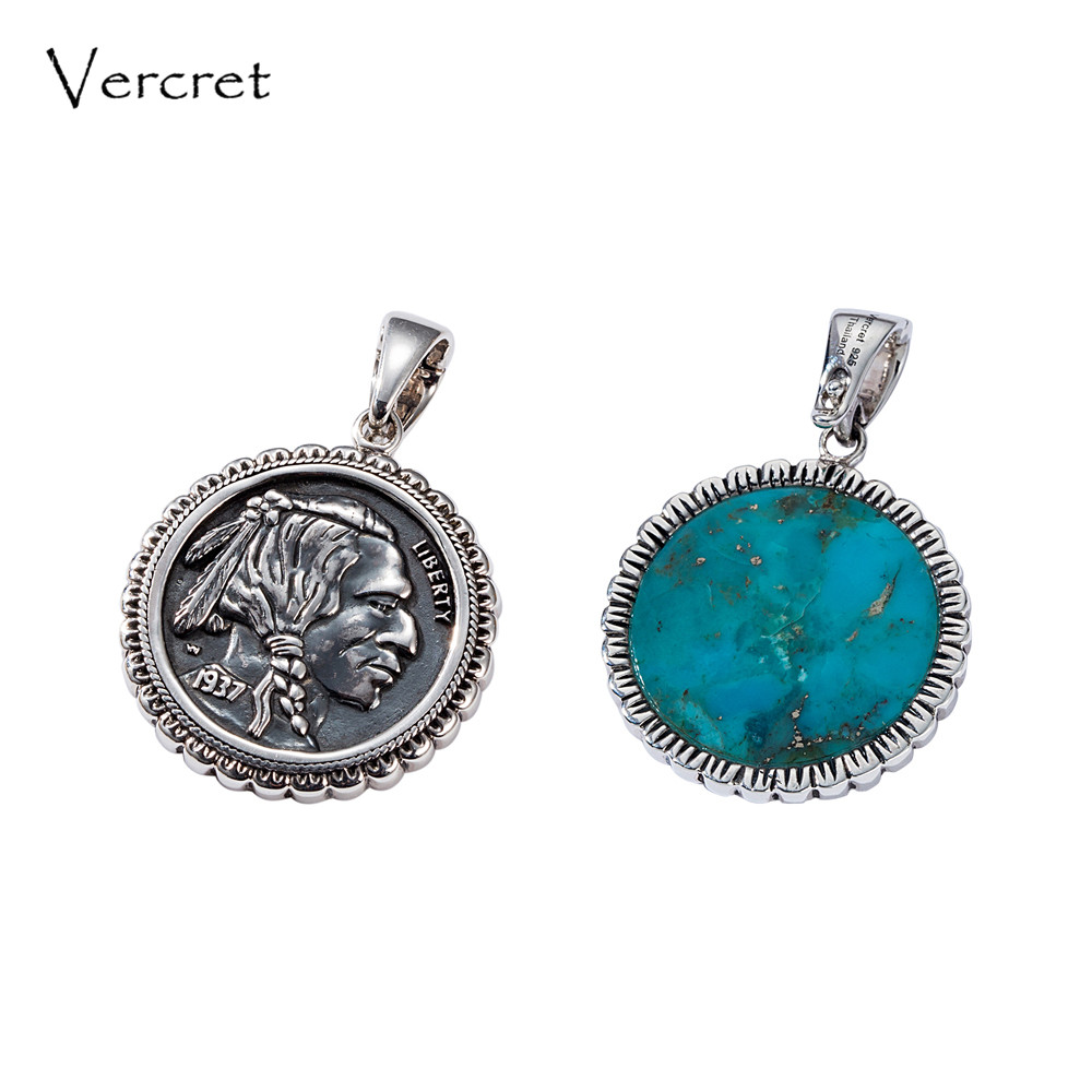 Vercret Native American Indian Head Buffalo Nickel Necklace Pendents Solid Turquoise 925 Silver Pendent For Gift Jewelry New все цены