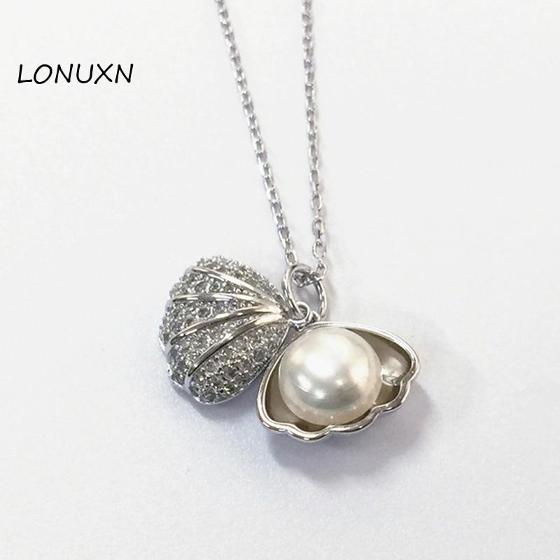 Haute qualité femme bijoux naturel mer d'eau douce perle Shell pendentif chaîne 925 en argent Sterling collier simple petite amie cadeau