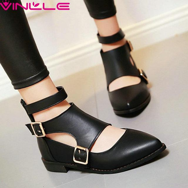 VINLLE Size 34-43 Black Zipper Buckle Pointed Toe Shoes Gladiator Women Pumps Solid Low Heels Summer Casual Shoes Soft Leather