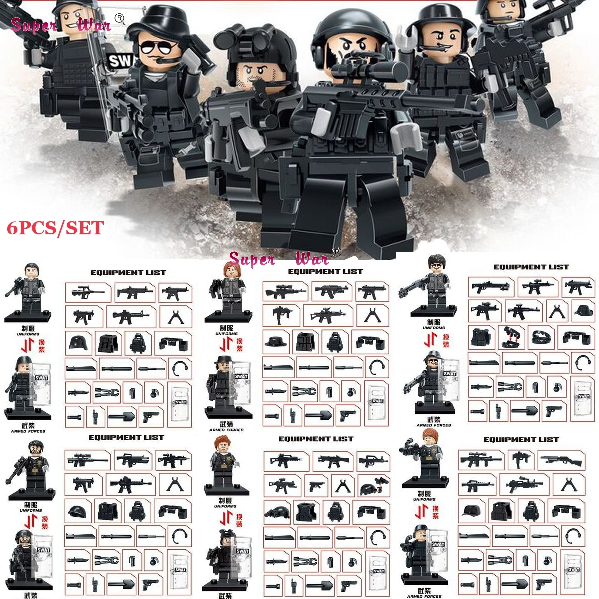 6PCS WW2 Anti Military policeman City Police Army Soldier weapon building blocks action  bricks toys for children city series police car motorcycle building blocks policeman models toys for children boy gifts compatible with legoeinglys 26014
