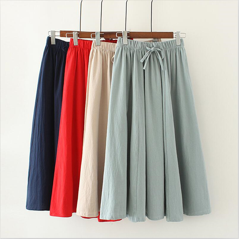 2020 Women Summer Cotton And Linen Skirt Preppy Style Solid Loose 6 Color Sweet Girl Skirt Vestido Plus Size Skirt M-7XL