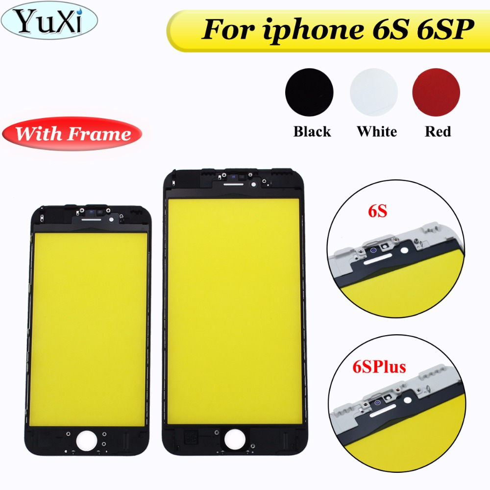 YuXi 4.7 / 5.5 inch Glass for iPhone 6S 6s plus 6SP Touch Screen LCD Front Touch Panel Glass Outer Lens Screen Digitizer+Frame image
