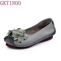 Women S Handmade Shoes Genuine Leather Flat Flower Mother Shoes Woman Loafers Soft Single Casual Shoes