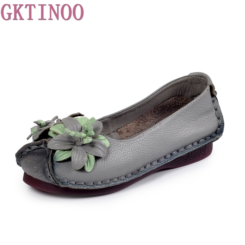 Women's Handmade Shoes Genuine Leather Flat Flower Mother Shoes Woman Loafers Soft Single Casual Shoes Women Flats summer women casual shoes breathable mother shoes women flat platform soft comfortable braided shoes light loafers for woman