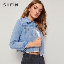 SHEIN bleu effiloché bord rabat poche printemps Denim veste manteau femmes 2019 automne Streetwear simple boutonnage dames vestes décontractée