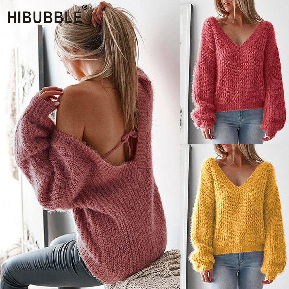 New Sexy Sweater With Open Back Women Sweater Knitted Sweater V-Neck Full Sleeve Sweaters Solid Color Elegant Truien Dames