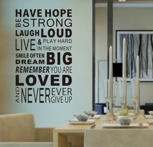 New 2016 DIY Wall Sticker Mural Art Living Room Decals Have Hope Sticker  Family Rules Home Decor Office Wallpaper Decoration