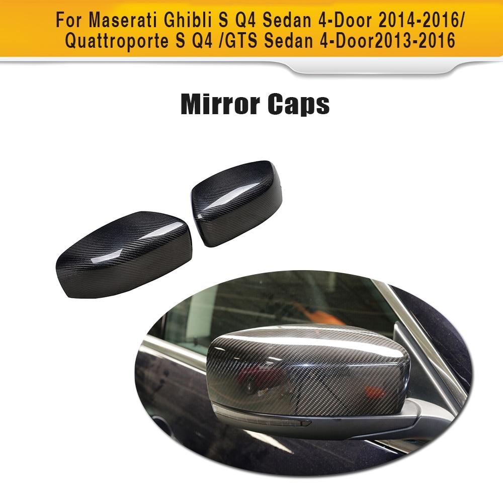 Carbon Fiber Car Rear Review Mirror Cover Caps for Maserati Quattroporte Ghibli S Q4 GTS Sedan 4 Door 13 16 Add On Style