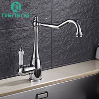 Nieneng Luxury Chromed Polished Kitchen Faucets 360 Swivel Brass Kitchen Sink Basin Swivel Mixer Tap Faucet