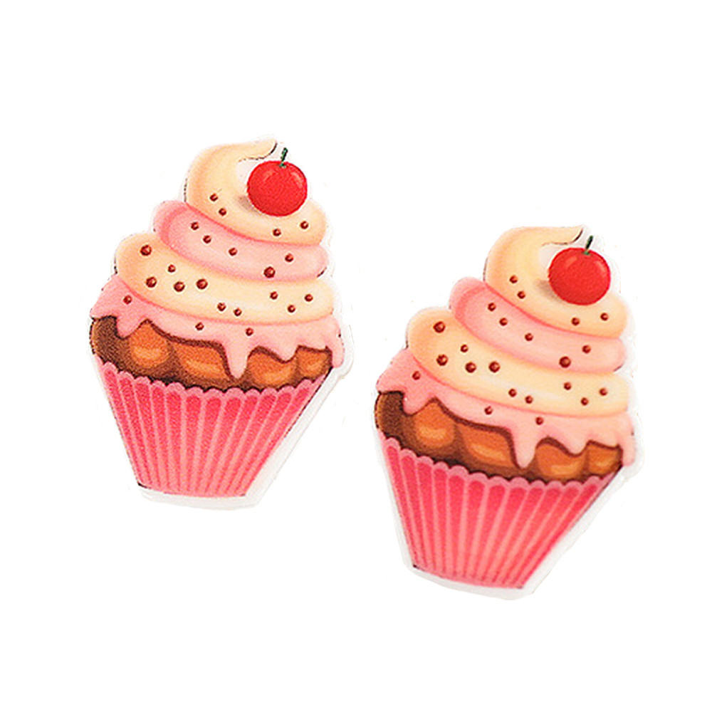 Cartoon Planar Resin Fruit Cupcake Design For Little Girls Kids Jewelry Craft Best GIFT 35*25mm 20Pcs