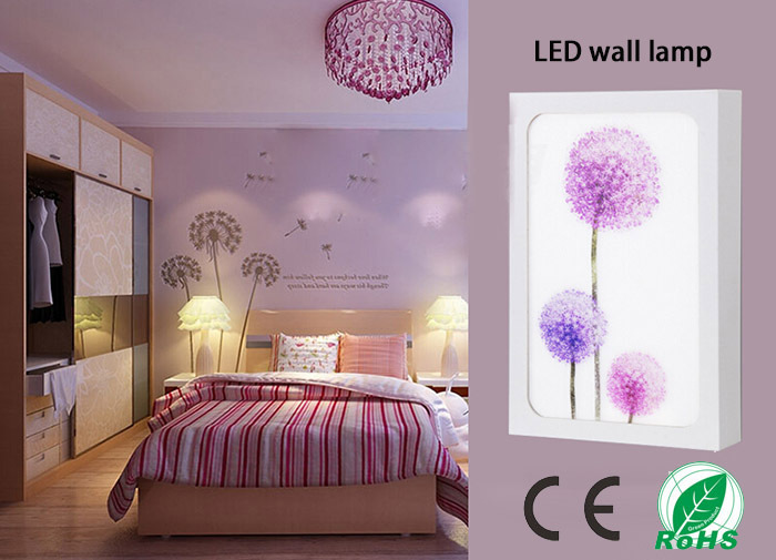 ФОТО Color the dandelion printing LED wall lamp for Indoor lighting decoration in the Bedroom, sitting room, study, corridor
