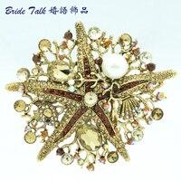 Vintage Jewelry Women jewelry Crystals Brooch Brown Starfish Brooch Broach Pin W/ Imitate Pearl Rhinestone Crystals 6412