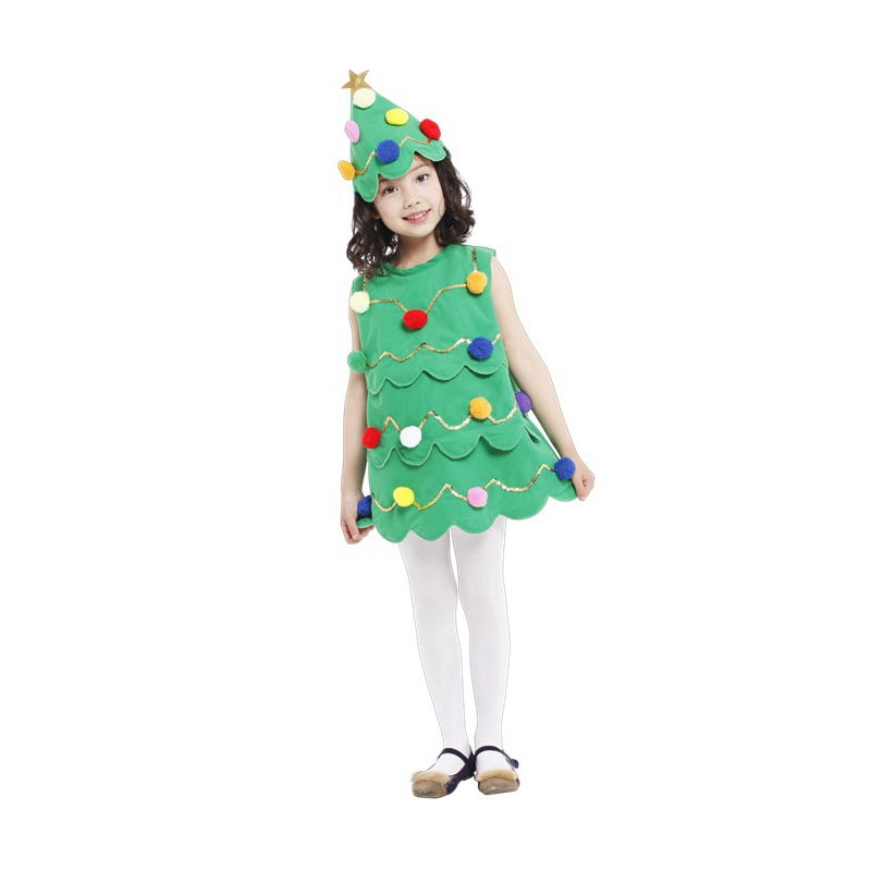 Umorden Halloween Christmas Party Costumes Child Kids Xmas Christmas Tree Costume Cosplay Dress for Girls Fancy Dress Outfit