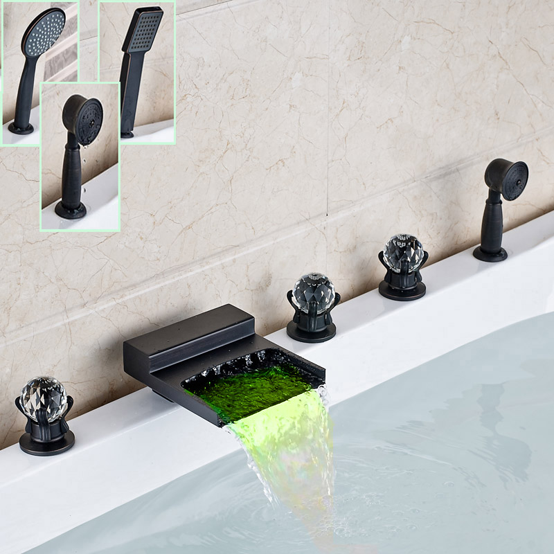 LED Light Widespread Bathroom Crystal Handles Bathtub Faucet Waterfall Spout Bath Tub Mixers with Handshower