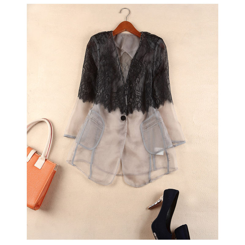 Fashion Spliced Organza Jacket 2019 Spring New V-neck Lace Shirt Seven Sleeve Suit Jacket Thin Female Slim Fit Blazer Coat F702