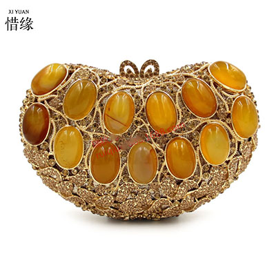 XIYUAN BRAND 2017 new gold hand beaded evening bag high-grade diamond gemstone clutch bags pearl purse bridal bag chains handbag