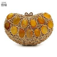 XIYUAN BRAND 2017 new gold hand beaded evening bag high grade diamond gemstone clutch bags pearl purse bridal bag chains handbag