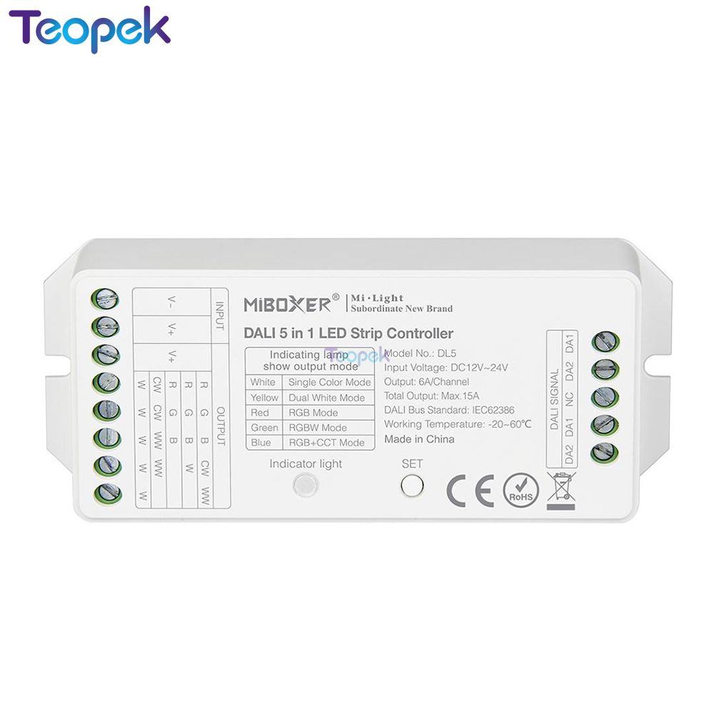 MiBOXER DALI 5 IN 1 LED Strip Controller DL5,DC 12~24V Compatible DP1 DP2 DP3 Remote Control/DALI Bus Power Supplly