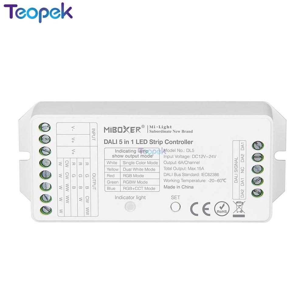 MiBOXER DALI 5 IN 1 LED Strip Controller DL5,DC 12~24V Compatible DP1 DP2 DP3 Remote Control/DALI Bus Power Supplly