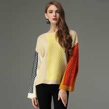 91e524255c 2018 Spring Flare Sleeve Split O-neck Lady Female Tops Women Sweater  Clothes New Fashion
