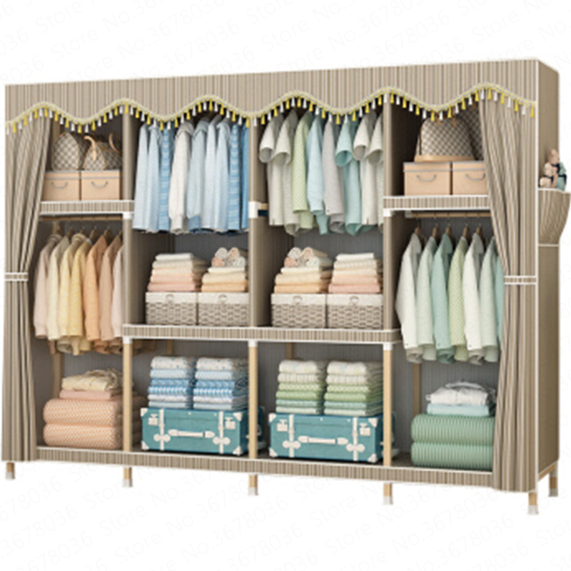 Simple Cloth Wardrobe Assembly Solid Wood Double Storage Bold Reinforcement Fabric Steel Frame Economical font b