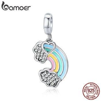 BAMOER 925 пробы Silver Rainbow Красочные эмаль сердце Подвеска fit оригинальный Браслеты DIY ювелирных изделий Аксессуары SCC905