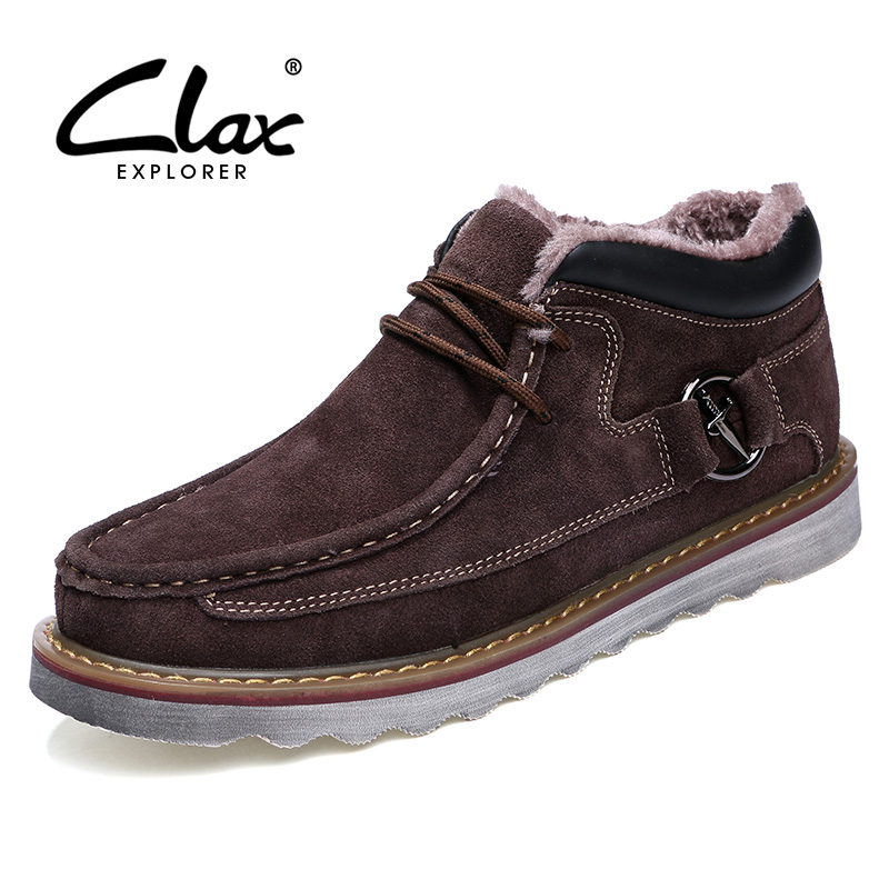 CLAX Men Winter Shoes Plush Fur Warm Men's Suede Leather Shoe Casual Footwear Autumn Soft Male Leisure Walking Shoe male casual shoes soft footwear classic men working shoes flats good quality outdoor walking shoes aa20135